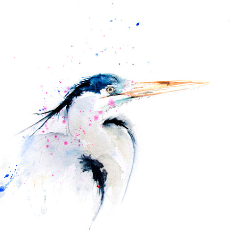 Heron bird limited edition print
