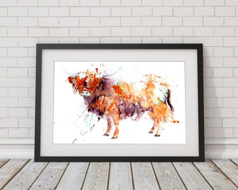 highland cow print by Jen Buckley