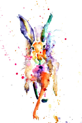 limited edition PRINT of my original running HARE watercolour
