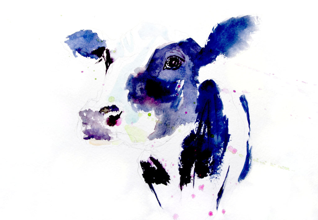 JEN BUCKLEY signed LIMITED EDITON PRINT of my Dairy COW watercolour  - Jen Buckley Art limited edition animal art prints
