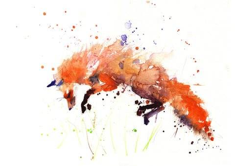 JEN BUCKLEY signed LIMITED EDITON PRINT 'Leaping Red Fox'