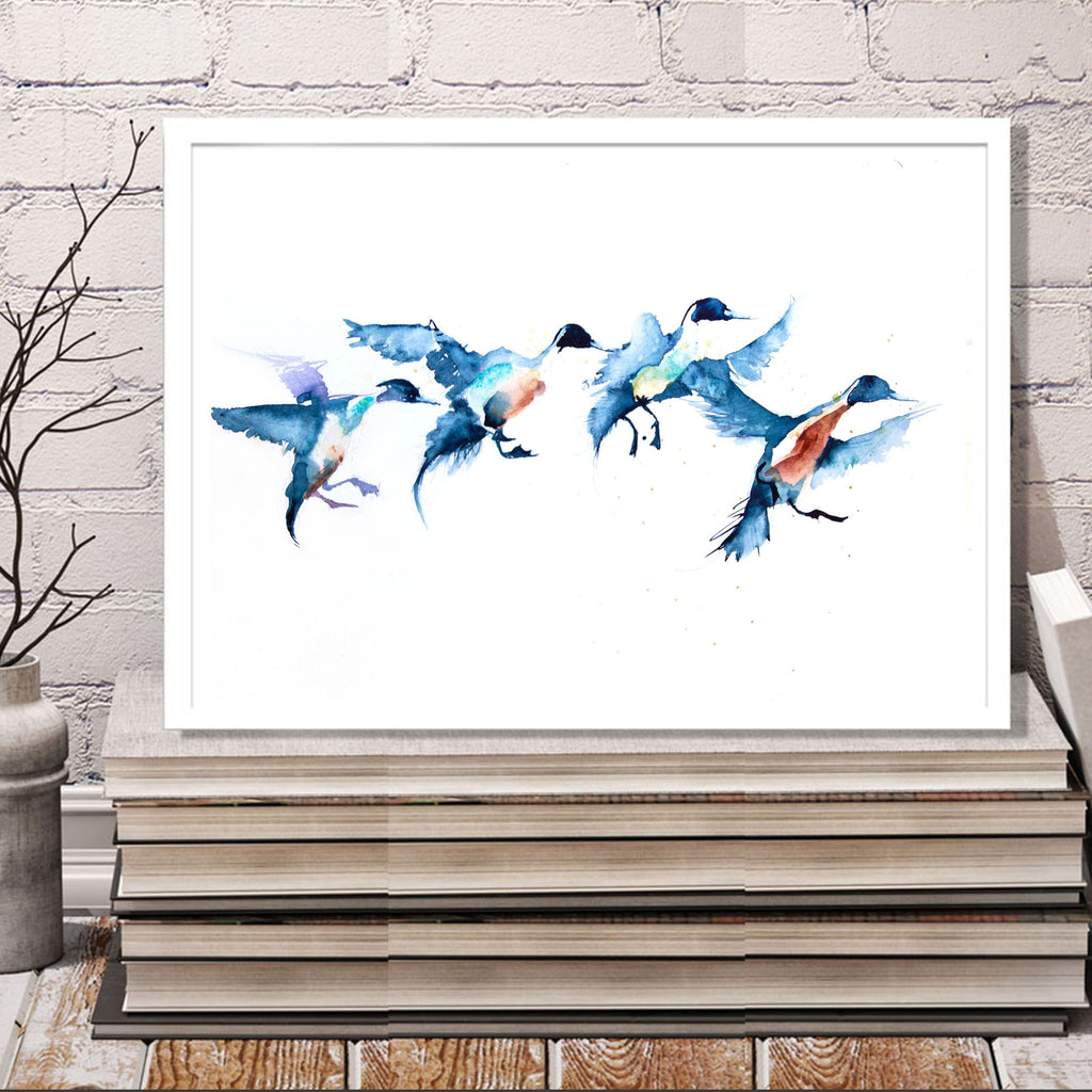 JEN BUCKLEY signed LIMITED edition PRINT of my original flying ducks watercolour