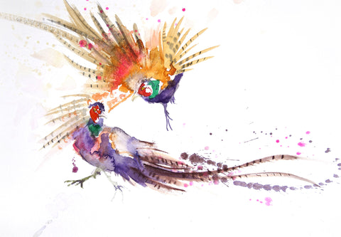 LIMITED EDITON PRINT of my original Pheasant watercolour - Jen Buckley Art limited edition animal art prints
