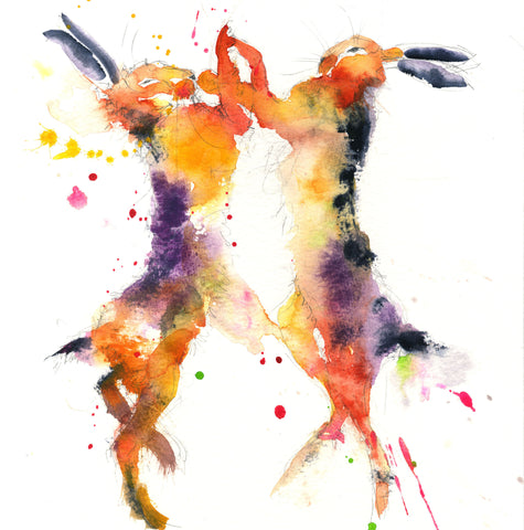 LIMITED EDITION PRINT of my original BOXING HARES