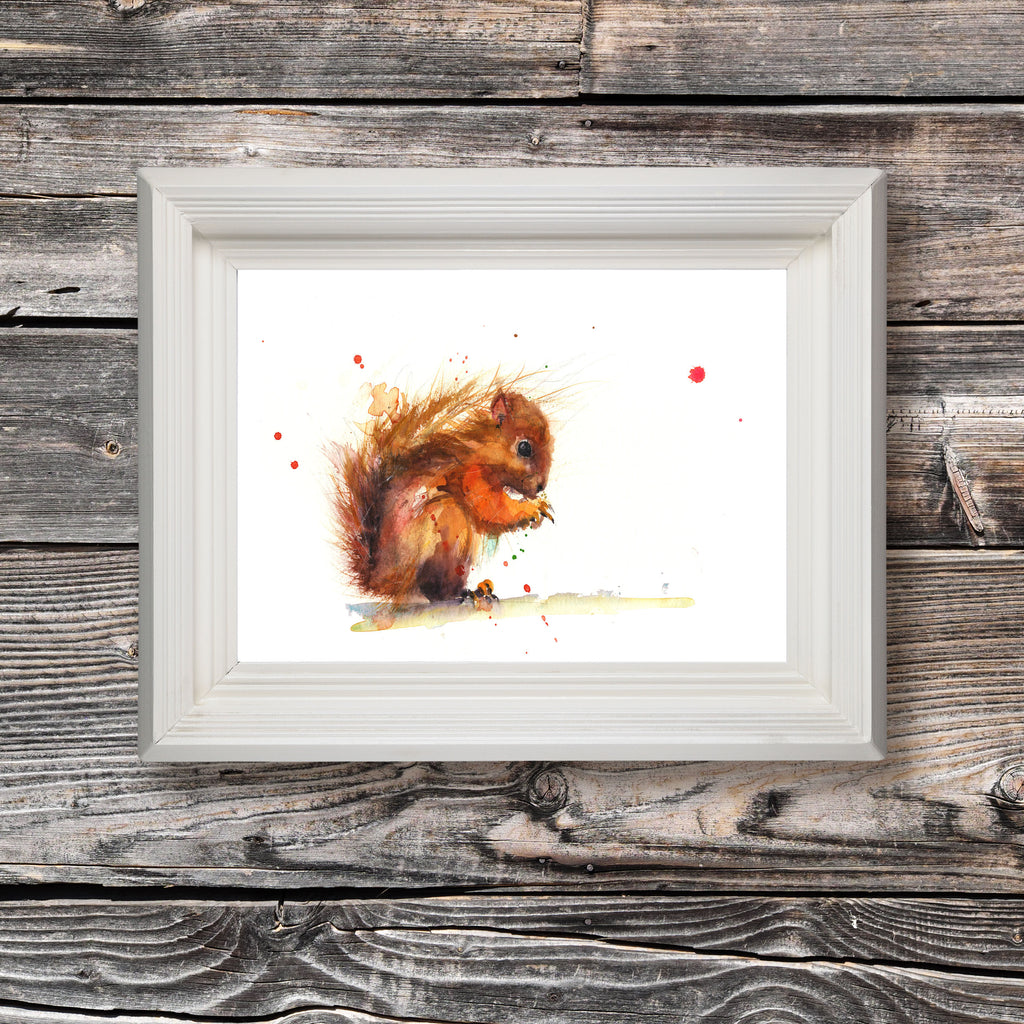 red squirrel art print by Jen Buckley