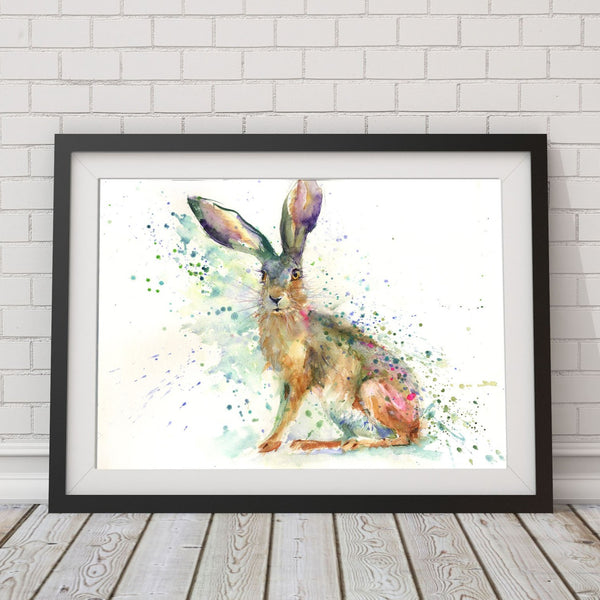 sitting hare original watercolour painting by Jen Buckley
