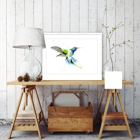 JEN BUCKLEY ART  signed PRINT of my original HUMMINGBIRD watercolour