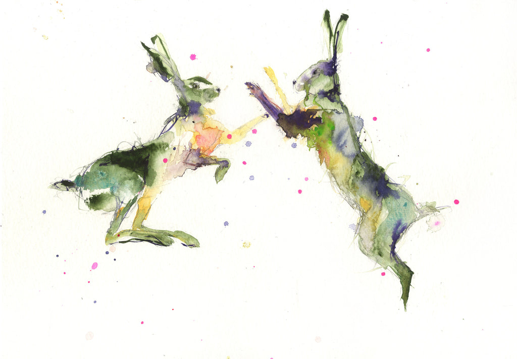 LIMITED EDITION PRINT of my original BOXING HARES - Jen Buckley Art limited edition animal art prints