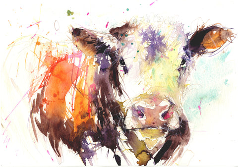 signed limited edition print - Hereford Cow