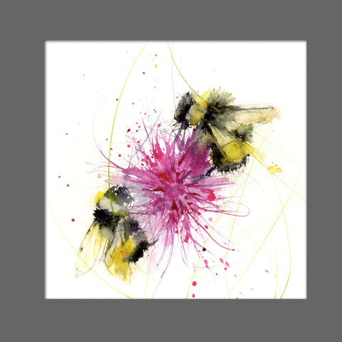 LIMITED EDITON PRINT of my original BUMBLE BEE on a pink Dahlia - Jen Buckley Art  - 3