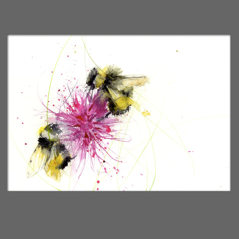 LIMITED EDITON PRINT of my original BUMBLE BEE on a pink Dahlia - Jen Buckley Art limited edition animal art prints