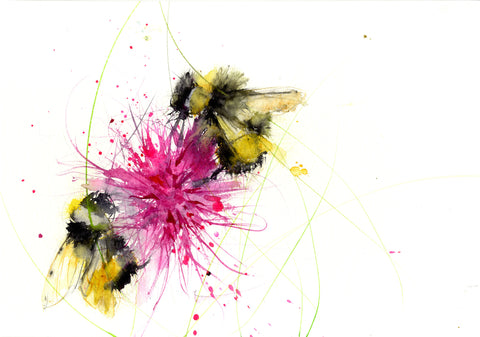 LIMITED EDITON PRINT of my original BUMBLE BEE on a pink Dahlia