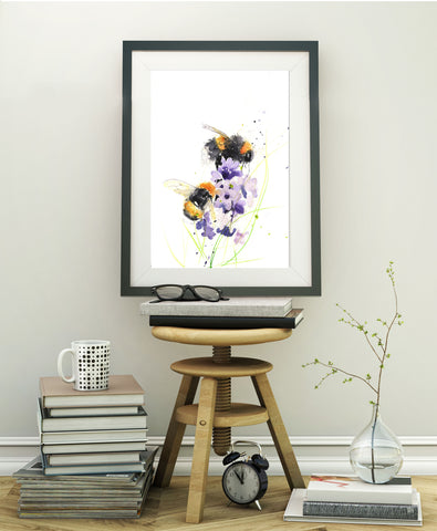 LIMITED EDITON PRINT of my original Bumble bees on a delphinium