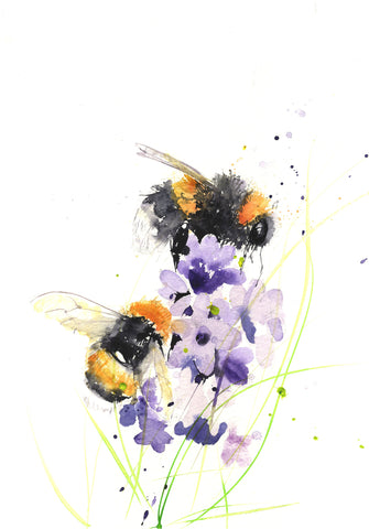 LIMITED EDITON PRINT of my original BUMBLE BEEs on a delphinium - Jen Buckley Art limited edition animal art prints