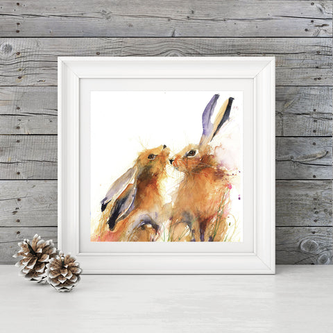 LIMITED EDITION PRINT snuggling hares