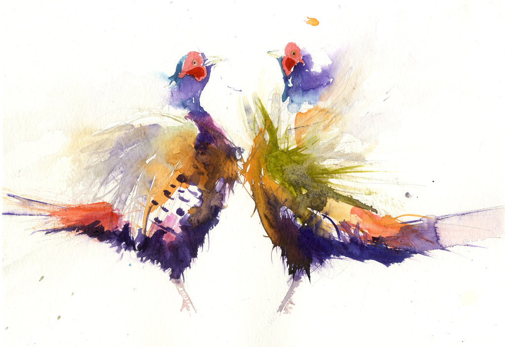 LIMITED EDITON  Pheasant watercolour print - Jen Buckley Art limited edition animal art prints