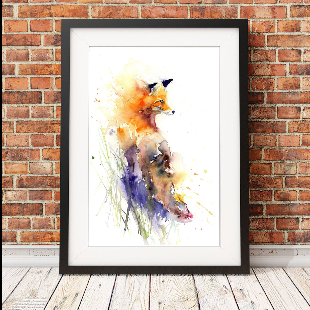 Limited edition print of original RED FOX watercolour painting