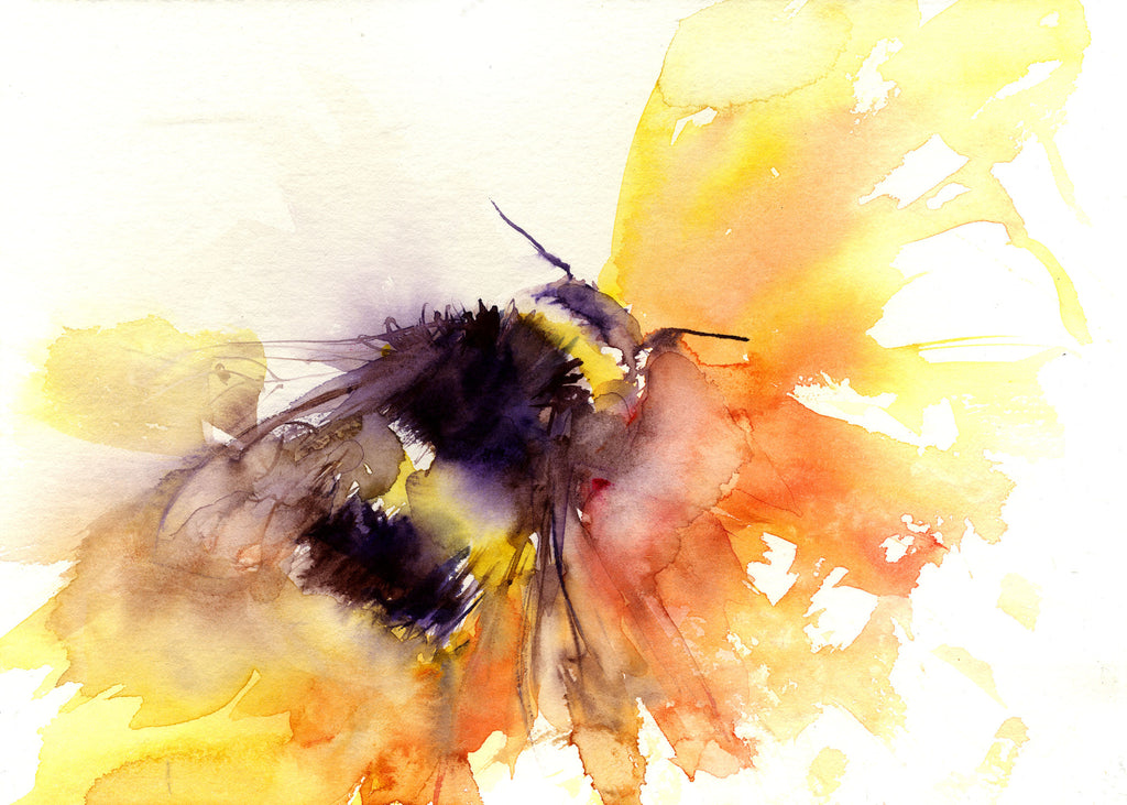 LIMITED EDITON PRINT of my original BUMBLE BEE - Jen Buckley Art limited edition animal art prints