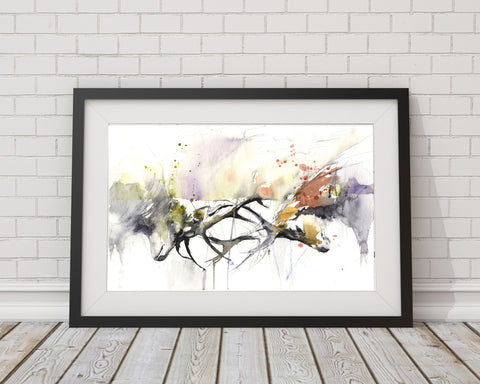 signed LIMITED EDITON PRINT 'Rutting stags'