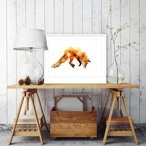 leaping fox art print by jen buckley