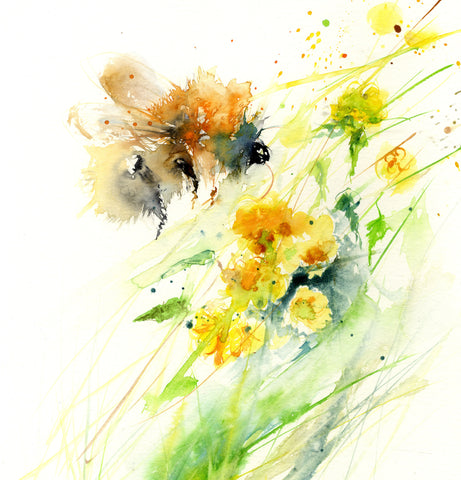 LIMITED EDITON PRINT ' Bumble bee on a yellow Kerria flower'