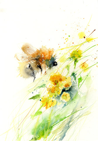 LIMITED EDITON PRINT ' Bumble bee on a yellow Kerria flower' - Jen Buckley Art limited edition animal art prints