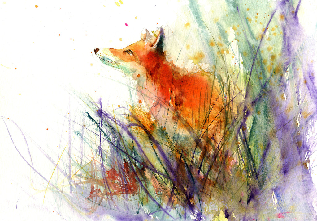 LIMITED EDITON PRINT 'red fox in the meadow' - Jen Buckley Art limited edition animal art prints
