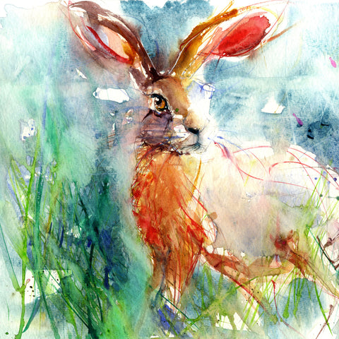 limited edition hare print from an original watercolour