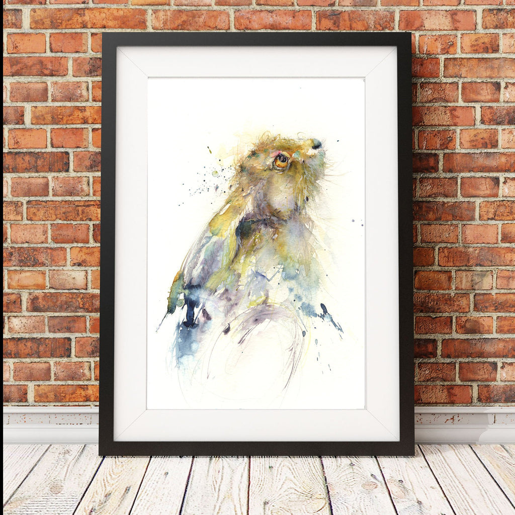 watercolour hare portrait by jen buckley