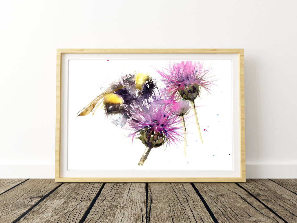 bee on a thistle watercolour print