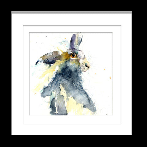 hare watercolour print by jen buckley