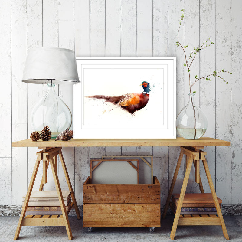 LIMITED EDITON cheeky  pheasant  watercolour print
