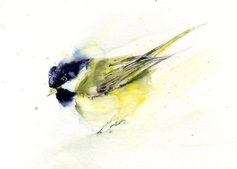 great tit bird watercolour print Jen Buckley
