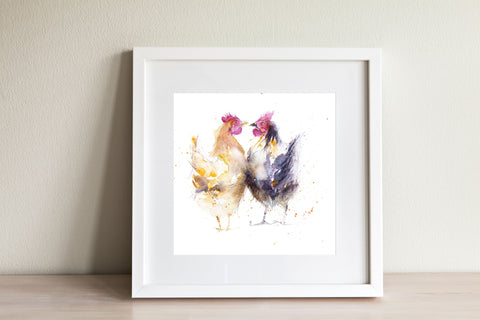 """Hello hen"" 2 Hens watercolour print"