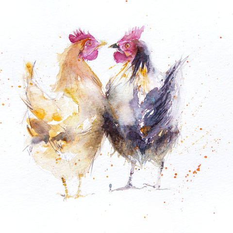 signed Open edition print - 2 Hens - Jen Buckley Art limited edition animal art prints