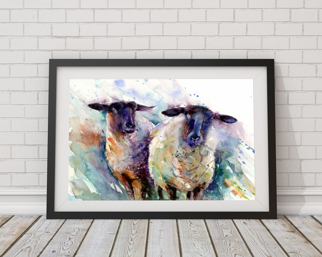 LIMITED EDITION PRINT of  original 2 ewes sheep painting livestock art Jen Buckley