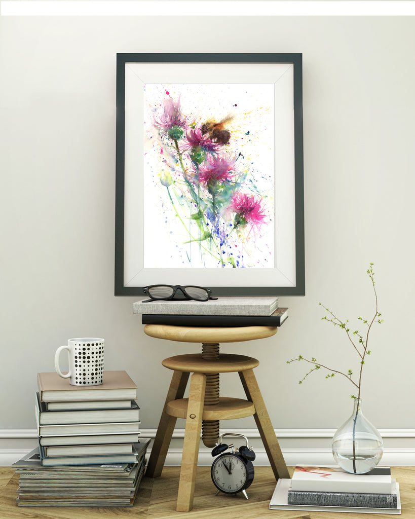 "Limited edition print "" Bee on a knapweed/thistle"""