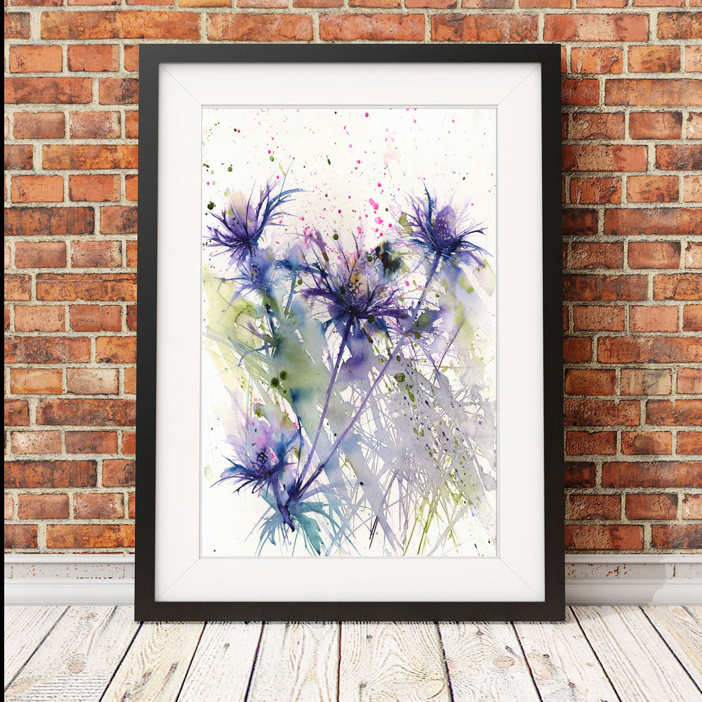 Contemporary  print from original watercolour Bumble bee on a sea holly