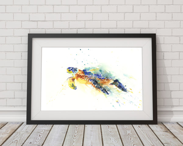 "Contemporary  print from original watercolour ""sea turtle"""