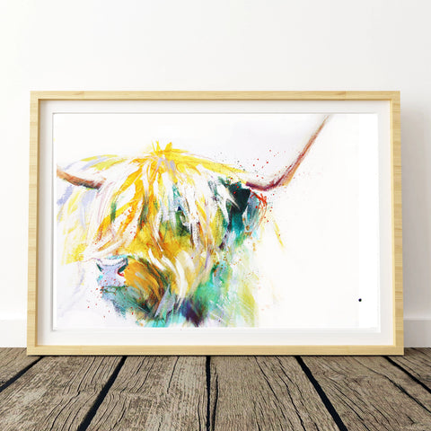 JEN BUCKLEY ART  signed PRINT  of my original HIGHLAND COW painting