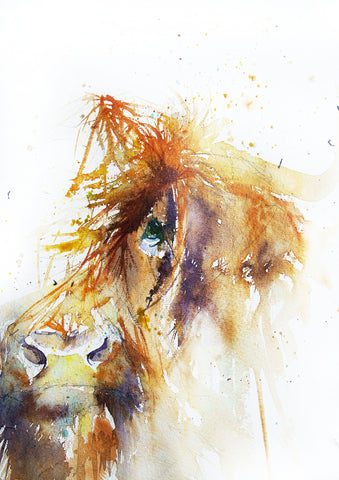 JEN BUCKLEY ART  signed PRINT of my original HIGHLAND COW  watercolour A4    - Jen Buckley Art  - 1