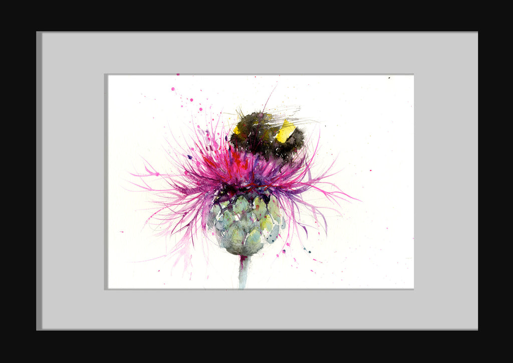 Original Watercolour Painting Bumble Bee On A Thistle