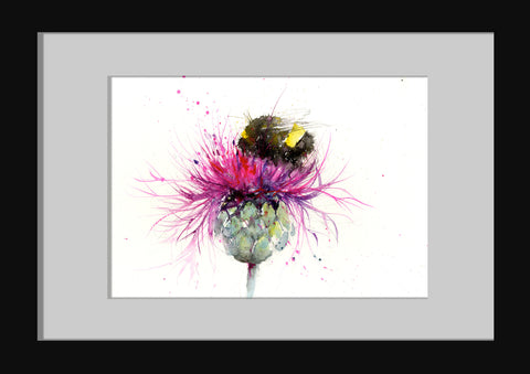 Original watercolour painting 'Bumble bee on a thistle'