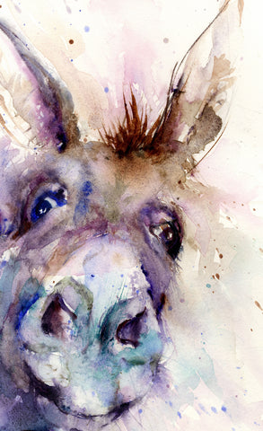 limited edition PRINT of my original DONKEY watercolour
