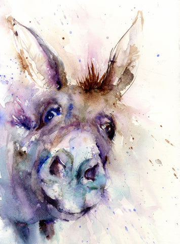 donkey watercolour animal art print by jen buckley
