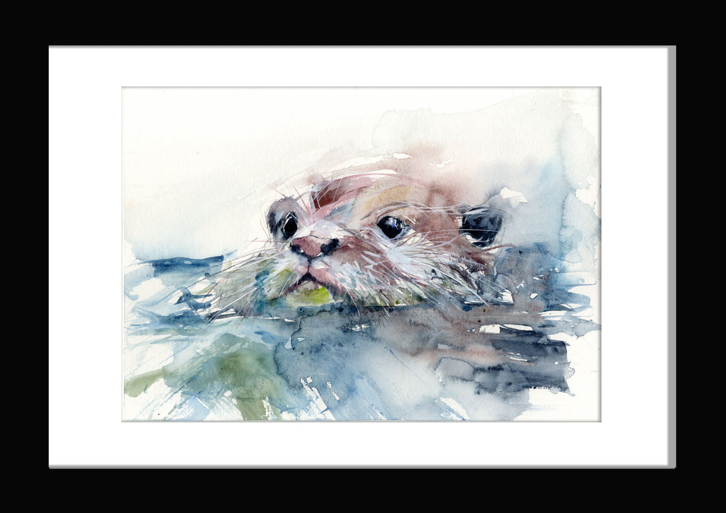 signed LIMITED EDITION PRINT of  original OTTER  painting