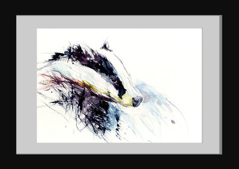 signed limited edition print - Badger - Jen Buckley Art limited edition animal art prints