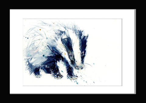 signed and numbered limited edition print from original watercolour - Badger