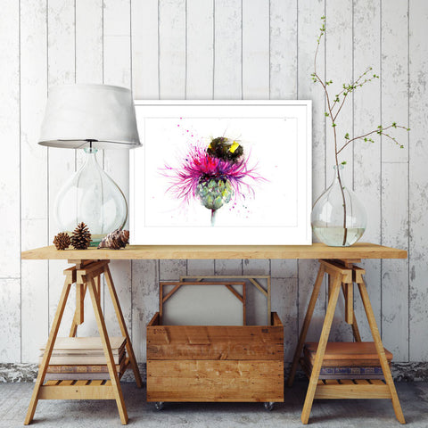 LIMITED EDITON PRINT of my original Bumble bee on a thistle