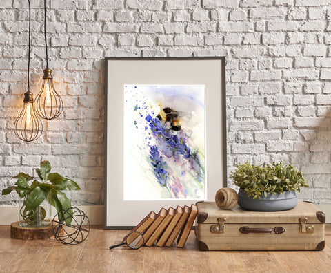 LIMITED EDITON PRINT of a BUMBLE BEE on a lavender flower
